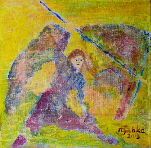 Erzengel Michael (2013), Acryl auf Nessel (25x25cm)