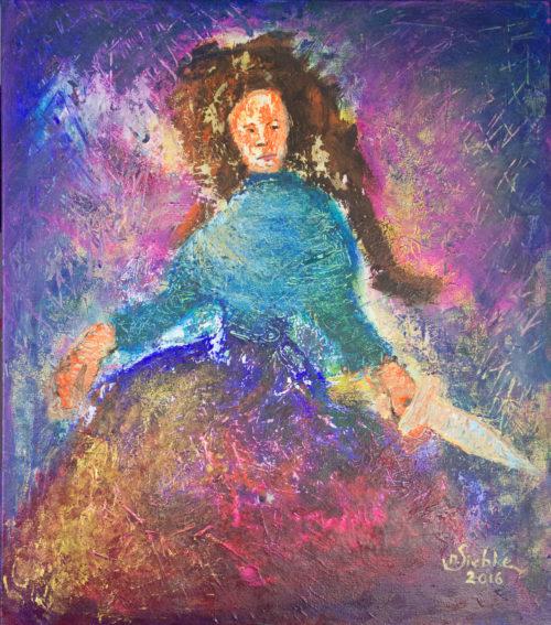 Engel mit Schwert (2016), Acryl auf Nessel (80x70x2cm)