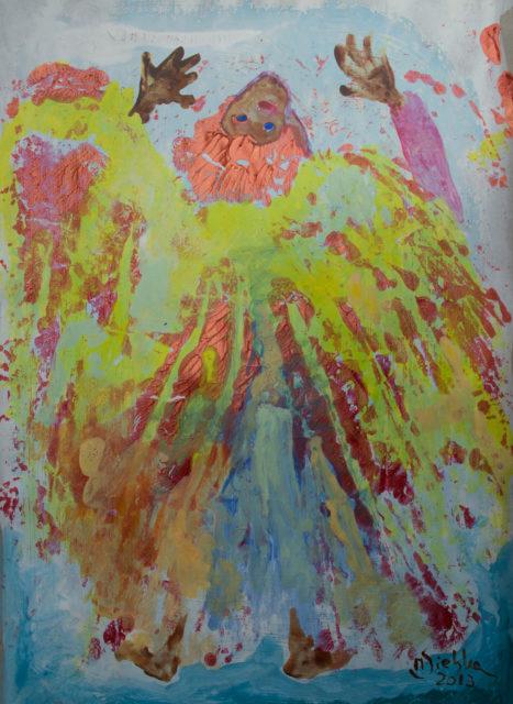 Hadernder Engel (2013), Acryl auf Papier (42x29cm)
