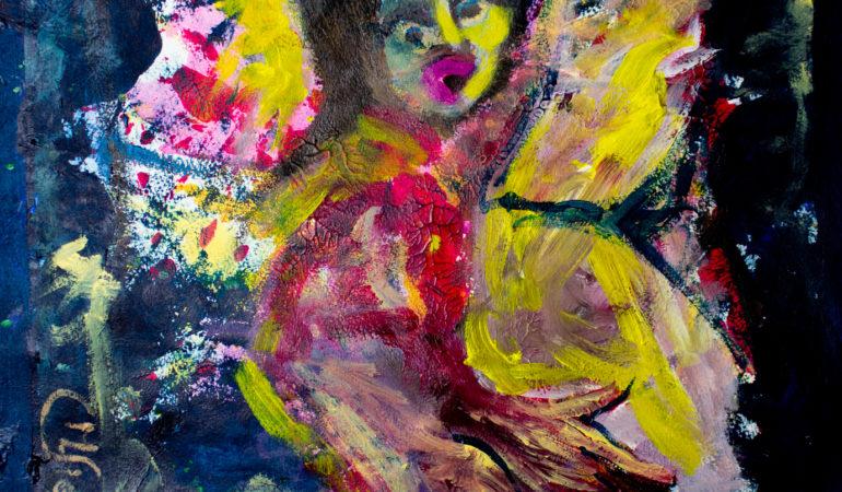 Drohengel (2013), Acryl auf Papier (50x35,5)